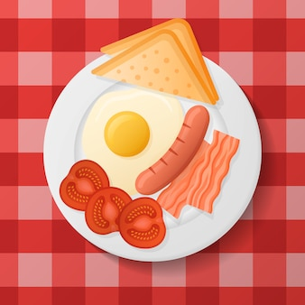 Plate with fried egg, bacon, grilled sausage, tomato and toast. english breakfast.