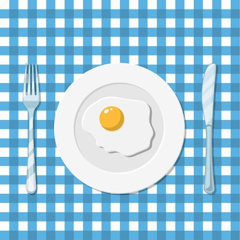 Plate with fried egg icon
