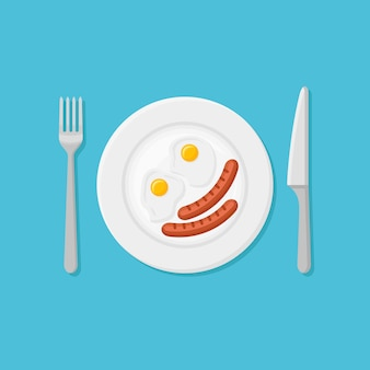 Plate with fried eggs and sausages in flat style.
