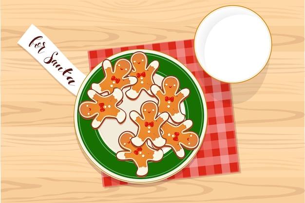Тарелка с пряниками рождественское печенье и стакан молока с запиской для санта-клауса. вид сверху векторные иллюстрации для дизайна новогодних и зимних праздников.