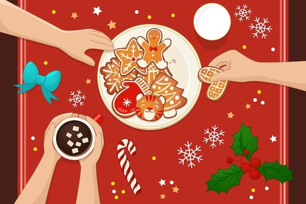진저 크리스마스 쿠키와 함께 접시입니다. 뜨거운 코코아, 우유, 사탕수수, 겨우살이와 함께하는 축하 파티. 새 해와 겨울 휴가 디자인에 대 한 상위 뷰 벡터 일러스트 레이 션.