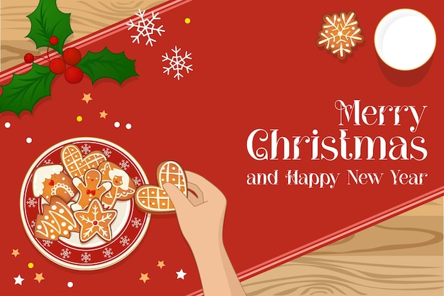 Plate with gingerbread christmas cookies and hand holding cookie and glass of milk. top view vector illustration for new year and winter holiday design.
