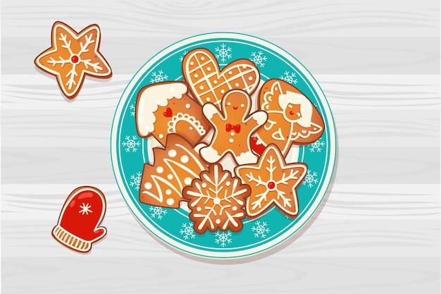 나무 테이블에 진저 크리스마스 쿠키가 있는 접시. 새 해와 겨울 휴가 디자인에 대 한 상위 뷰 벡터 일러스트 레이 션.