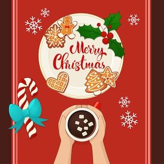 手とホットココアとジンジャーブレッドのクリスマスクッキーでプレート。手レタリング構成。新年と冬の休日のデザインの平面図のベクトル図です。