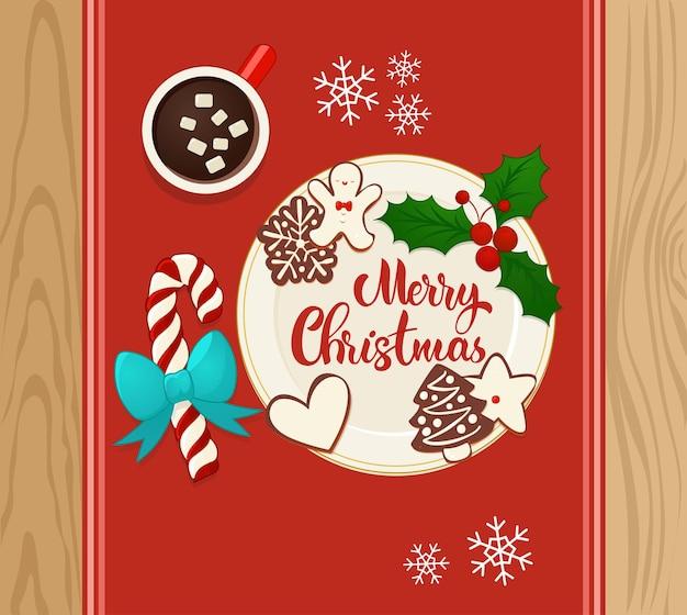 ホットココアとジンジャーブレッドのクリスマスクッキーでプレート。手レタリング構成。新年と冬の休日のデザインの平面図のベクトル図です。