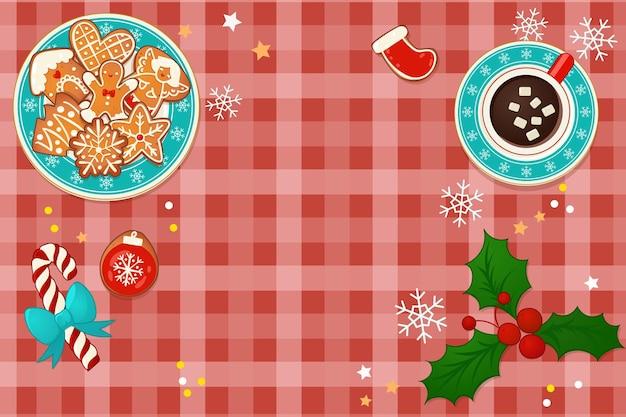 뜨거운 코코아와 진저 크리스마스 쿠키와 함께 접시입니다. 새 해와 겨울 휴가 디자인에 대 한 상위 뷰 벡터 일러스트 레이 션.