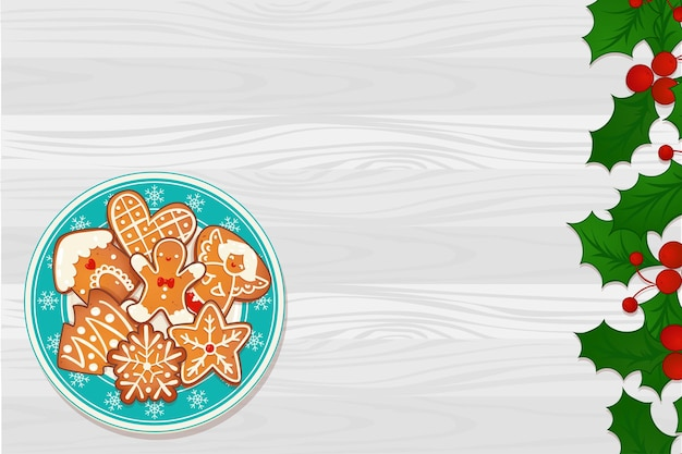 Plate with gingerbread christmas cookies on wooden table and mistletoe border. top view vector illustration for new year and winter holiday design.