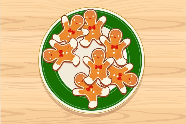Plate with gingerbread christmas cookies on wooden table. top view vector illustration for new year and winter holiday design.