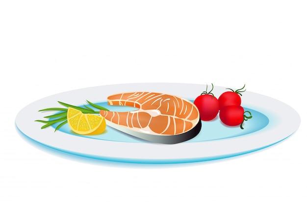 Тарелка с жареной рыбой, лимоном и овощами