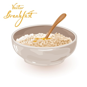 Plate with healthy porridge with butter