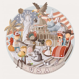Plate  with items from usa.  illustration