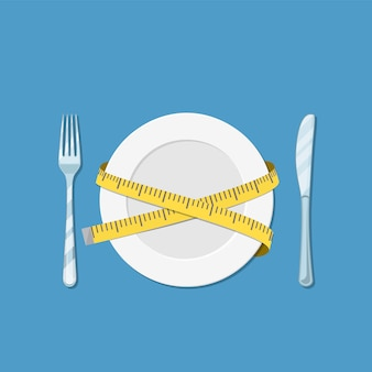 Plate with measuring tape, fork and knife