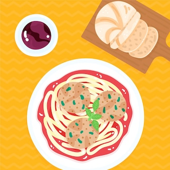 Plate with spaghetti and meatballs