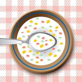 숟가락과 조각이 있는 접시