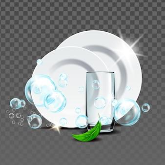 Тарелки и стекло, промытые вектором моющего средства мяты