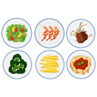 Plates of food collection