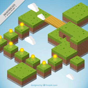 Platform background in isometric style