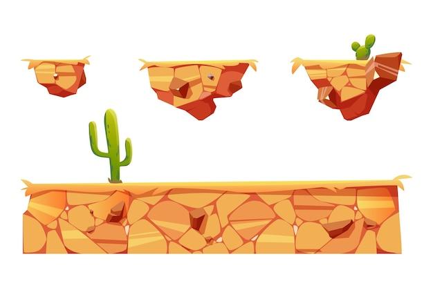 Платформы с пустынным ландшафтом и кактусами для интерфейса игрового уровня