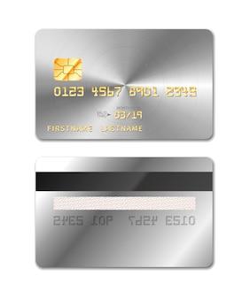 Платиновая реалистичная кредитка с обеих сторон на белом