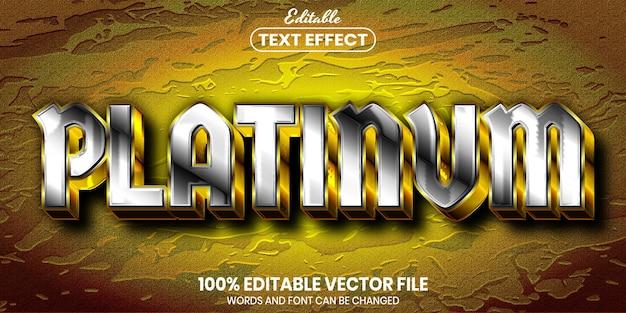 Платиновый текст, редактируемый текстовый эффект в стиле шрифта