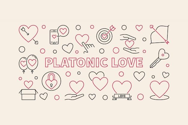 Platonic love concept outline illustration