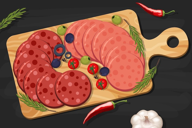 テーブルの背景にハムと燻製肉の盛り合わせ