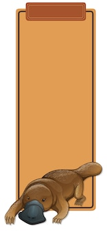 A platypus on blank template