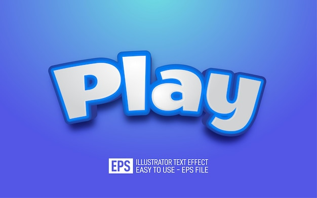 Play 3d text editable style effect template