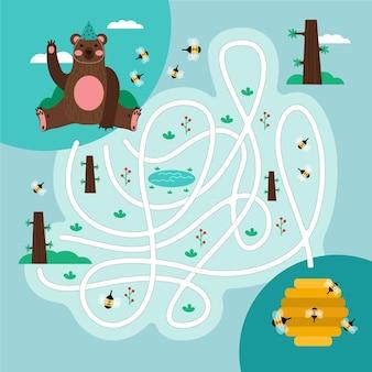 매치 게임 곰과 꿀을 플레이하고 배우십시오.