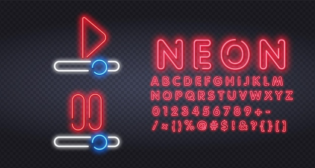ネオンサインのテンプレートデザインを再生して停止します