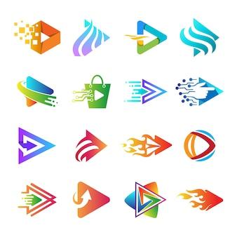Play app logo collection, set of play button logo