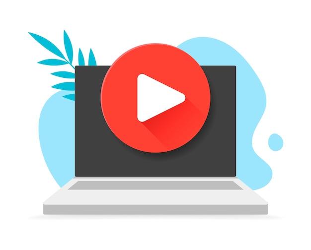 현대적인 스타일의 랩톱 컴퓨터에서 배지를 재생하십시오. 삽화. 낳다. 배경 낙서와 나뭇잎과 노트북에서 빨간색 둥근 버튼 재생. 모든 플랫폼에서 사용할 수있는 플레이 기호입니다.
