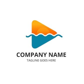 Play beach sunset logo и шаблон иконок