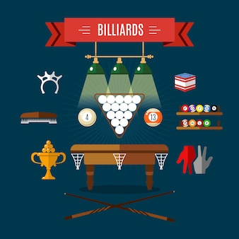 Play billiards flat icon set with sports attributes and accessories