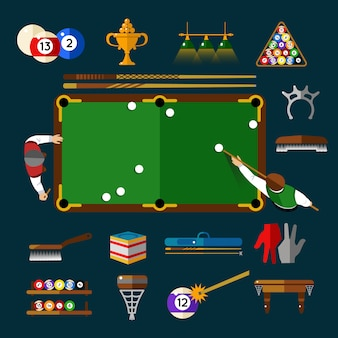 Play billiards flat set with elements and equipments for this sport