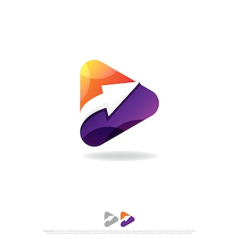 Play button and arrow up logo