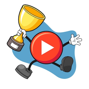 Play button cartoon character holding a trophy