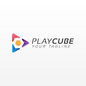 Play button cube logo