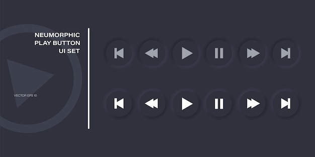 Play button icon set in modern neumorphism style; neomorphic vector music and media control symbol collection.