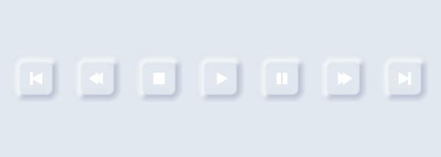 재생 버튼 아이콘 세트입니다. 뉴모피즘 스타일. 네오모픽 벡터 음악 및 미디어 제어 기호 컬렉션입니다. 흰색 모형 배너, 비디오 오디오 인터페이스 모양.