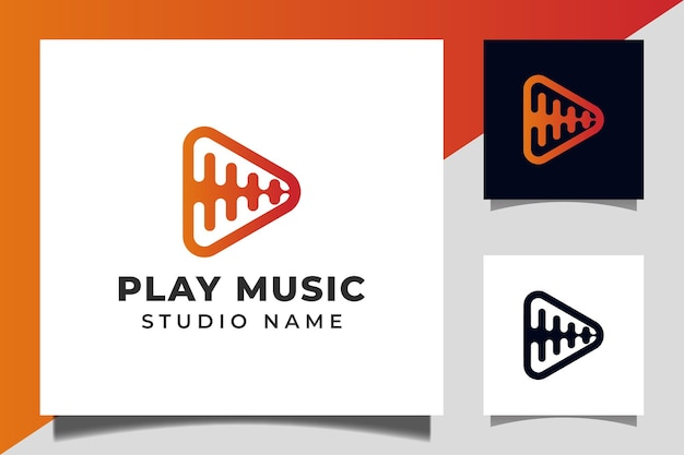 Play button icon vector with pulse music player design for multimedia music studios logo template