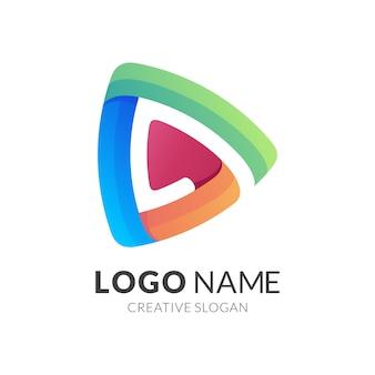 Концепция логотипа кнопки воспроизведения, современный стиль логотипа в ярких градиентных тонах
