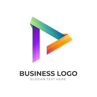 Play button logo concept with 3d colorful style