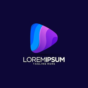 Play button logo design template