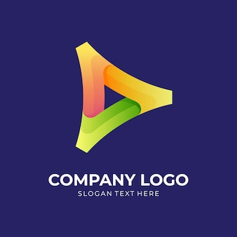 3dカラフルなスタイルでボタンのロゴデザインを再生