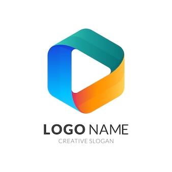 再生ボタンのロゴ、六角形と再生ボタン、3dカラフルなスタイルの組み合わせのロゴ