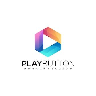 再生ボタンのロゴイラストカラフルなグラデーションイラスト