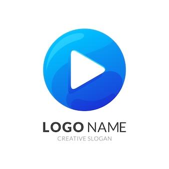 再生ボタンのロゴ、グラデーションブルー色のモダンなロゴスタイル