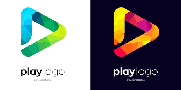 Play button logo with two style