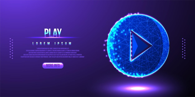 Play button low poly wireframe mesh